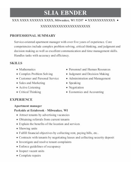Apartment Manager resume format Wisconsin