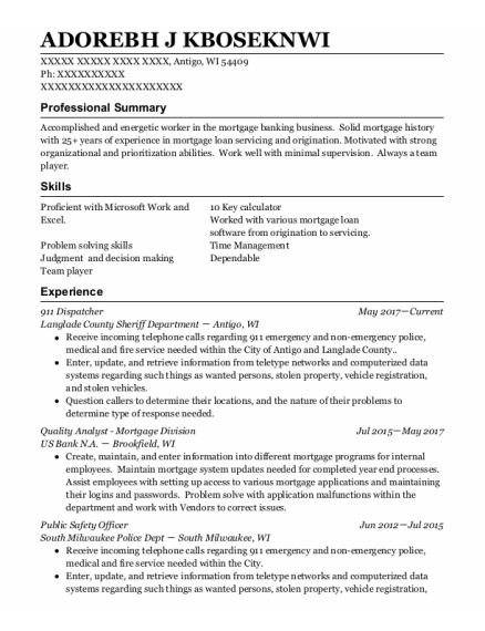 911 Dispatcher resume format Wisconsin