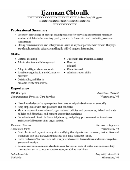 Hr Manager resume example Wisconsin