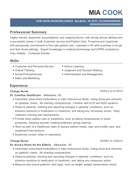 Charge Nurse resume template Wisconsin