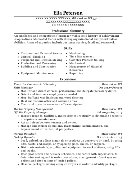 Shift Manager resume template Wisconsin