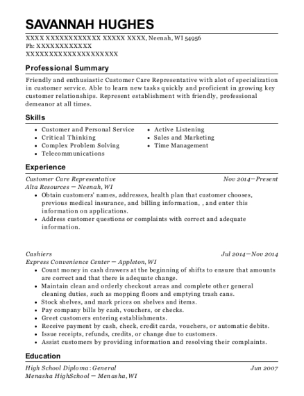 Customer Care Representative resume template Wisconsin