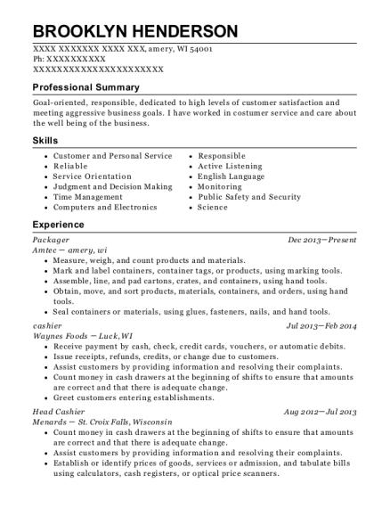 Packager resume example Wisconsin