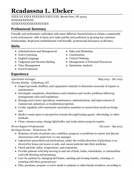 Apartment Manager resume example Wisconsin