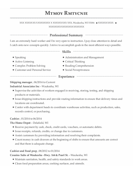 Shipping Manager resume format Wisconsin