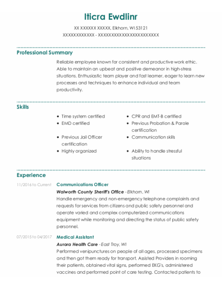 Communications Officer resume sample Wisconsin