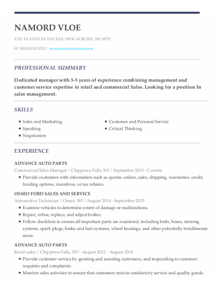 Commercial Sales Manager resume format Wisconsin