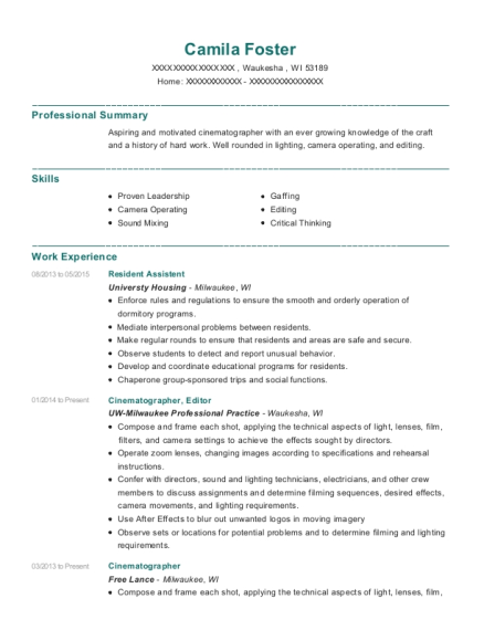 Resident Assistent resume example Wisconsin