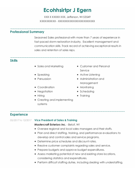 National Sales Manager resume format Wisconsin