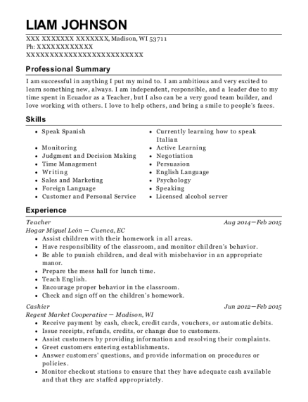 Teacher resume format Wisconsin