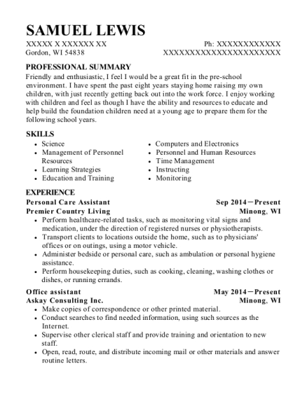 Personal Care Assistant resume format Wisconsin
