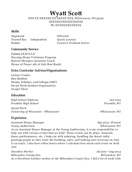 The Santa Fe Opera Assistant House Manager Resume Sample