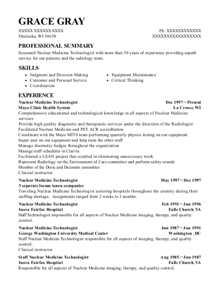 Nuclear Medicine Technologist resume format Wisconsin