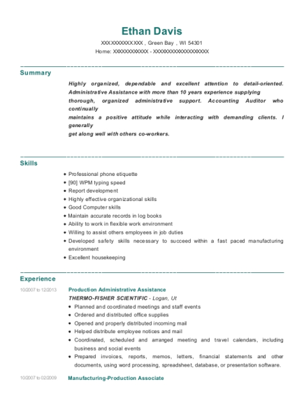 Production Administrative Assistance resume format Wisconsin
