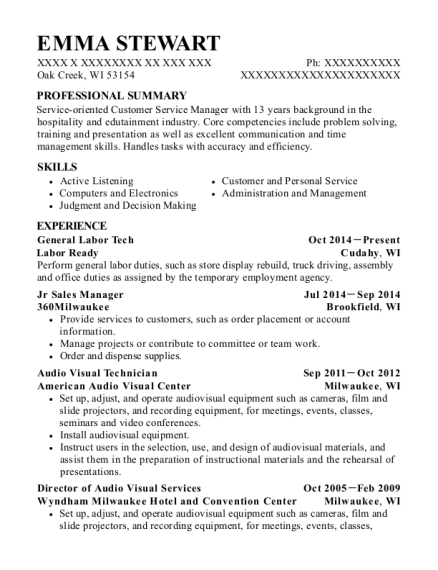 General Labor Tech resume example Wisconsin