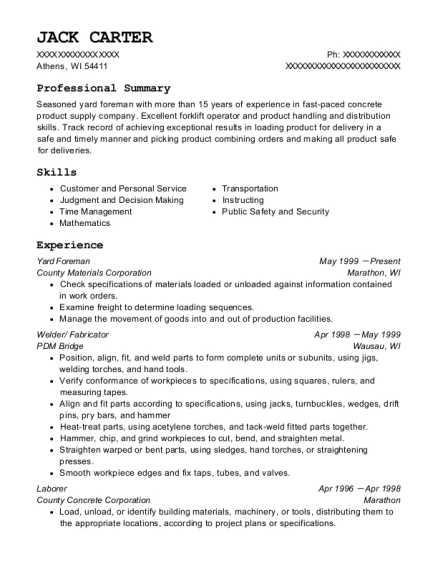 Yard Foreman resume sample Wisconsin