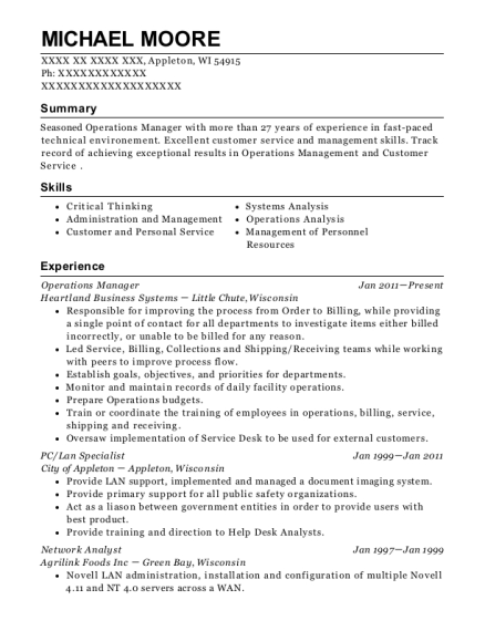 Operations Manager resume example Wisconsin