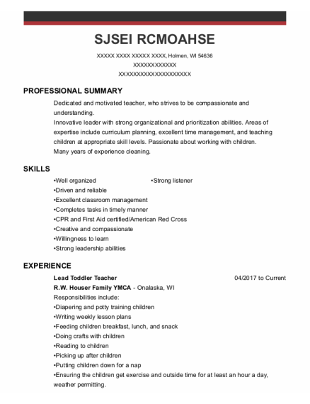Lead Toddler Teacher resume example Wisconsin