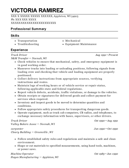 Truck Driver resume format Wisconsin