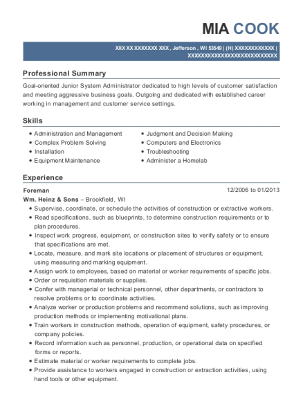 Foreman resume template Wisconsin