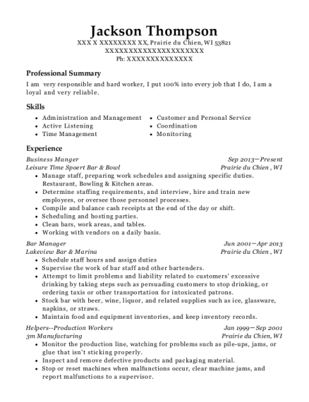 Business Manger resume sample Wisconsin