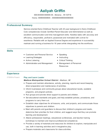 Play and Learn Leader resume format Wisconsin