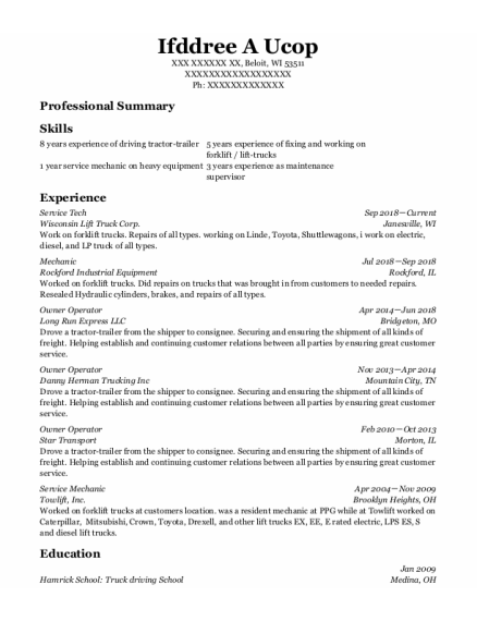 Service Tech resume example Wisconsin