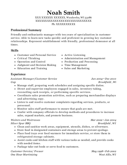 Assistant Manager resume sample Wisconsin