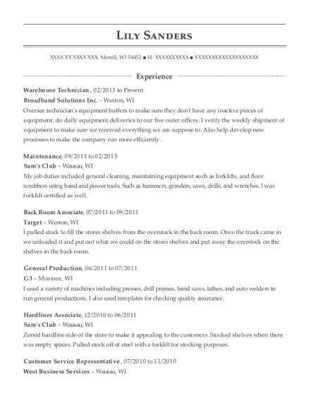 Warehouse Technician resume sample Wisconsin