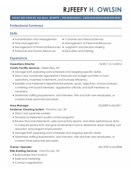 Operations Director resume template Wisconsin
