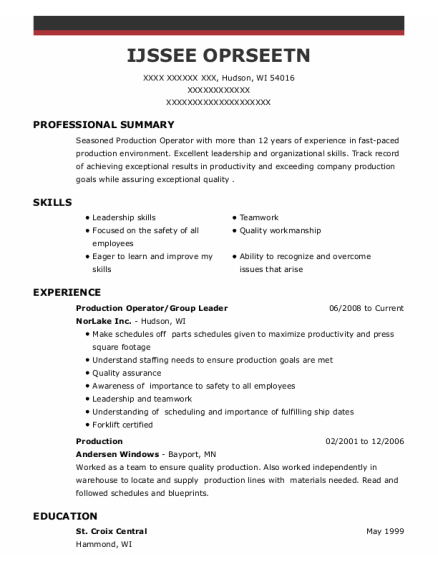 Production Operator resume example Wisconsin