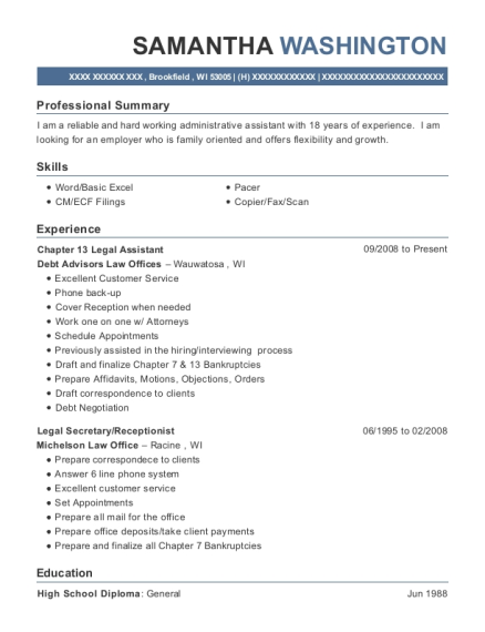 Chapter 13 Legal Assistant resume template Wisconsin