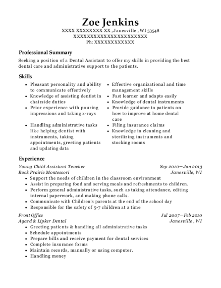 Young Child Assistant Teacher resume format Wisconsin