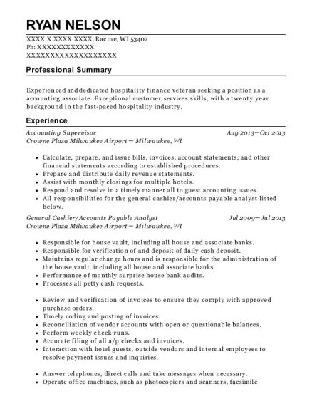 Accounting Supervisor resume template Wisconsin