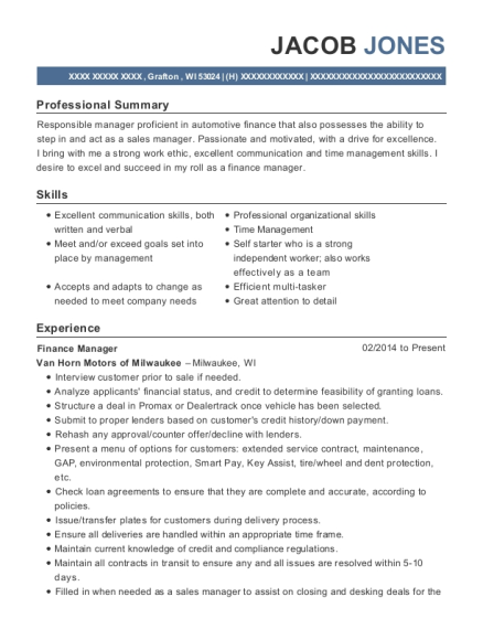 Finance Manager resume sample Wisconsin