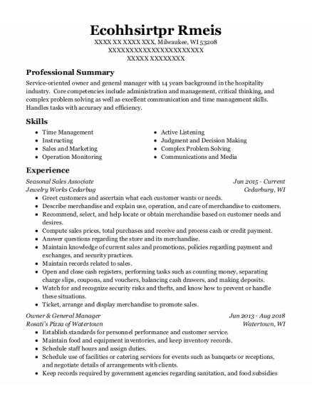 Seasonal Sales Associate resume format Wisconsin