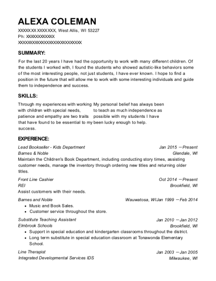Lead Bookseller Kids Department resume template Wisconsin
