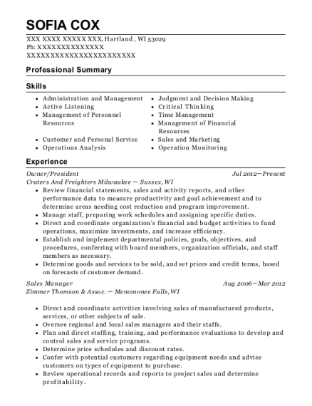 Owner resume template Wisconsin