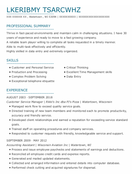 CUSTOMER SERVICE MANAGER resume template Wisconsin
