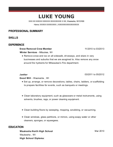 Snow Removal Crew Member resume example Wisconsin