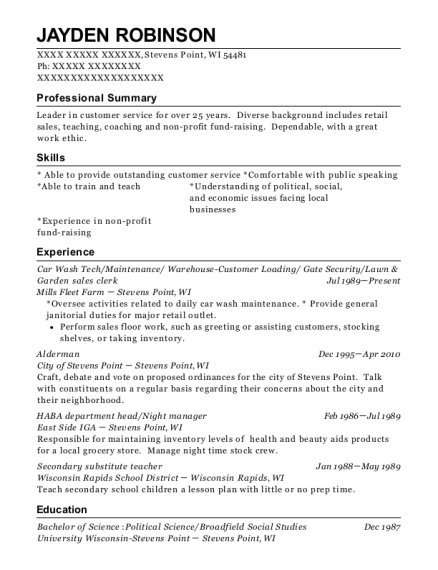 Car Wash Tech resume sample Wisconsin