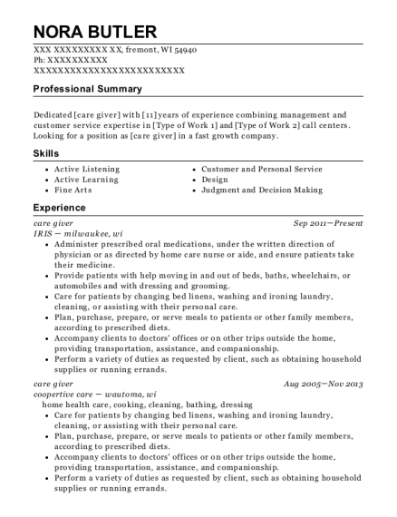 care giver resume format Wisconsin