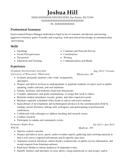 Graduate Instructional Assistant resume example Wisconsin