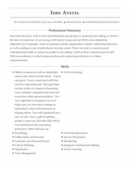 Domestic Engineer resume sample Wisconsin