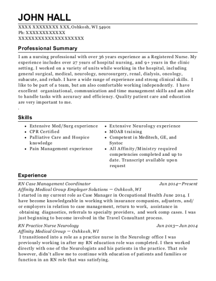 RN Case Management Coordinator resume example Wisconsin