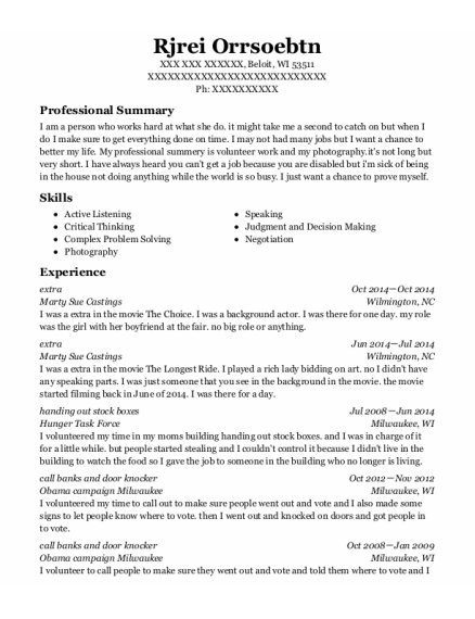 Extra resume format Wisconsin