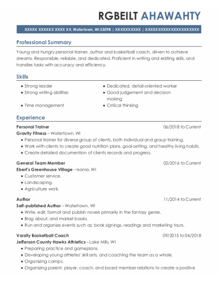 Personal Trainer resume format Wisconsin