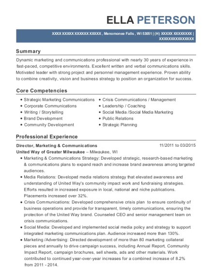 Director resume template Wisconsin