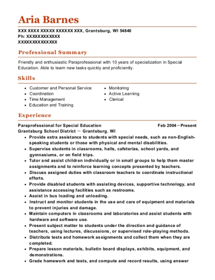 Paraprofessional for Special Education resume sample Wisconsin
