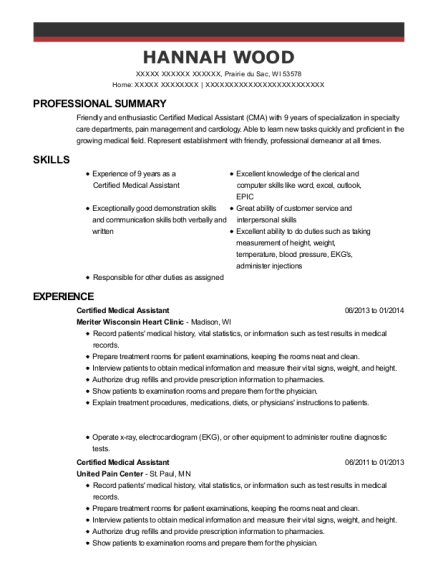 Certified Medical Assistant resume template Wisconsin
